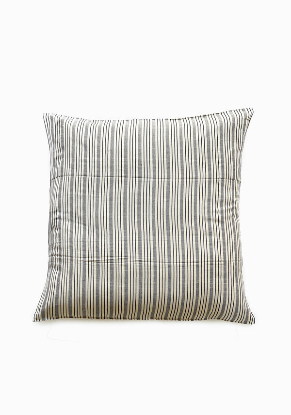 "Floor Cushion, Natural/Blue Quad Stripe, 32""x32"""