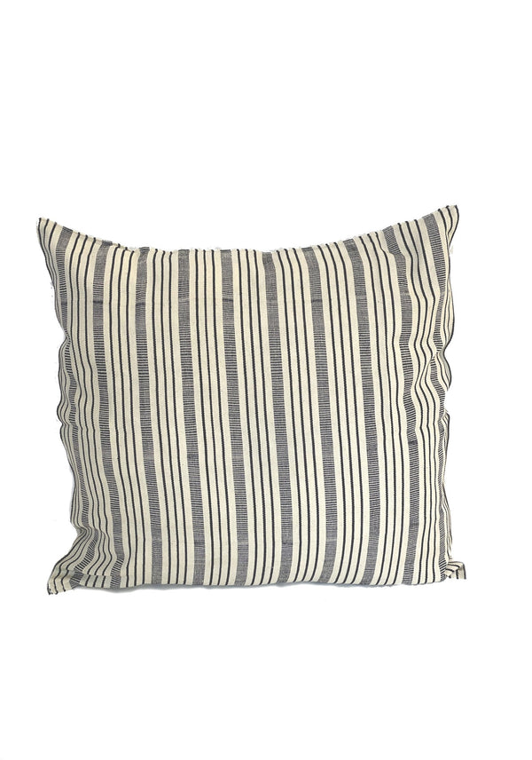 "Cushion, Natural/Navy Quad Stripe, 20""x20"""