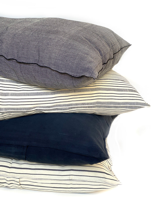 "Headboard Cushion, Natural/Navy Quad Stripe, 24""x32"""