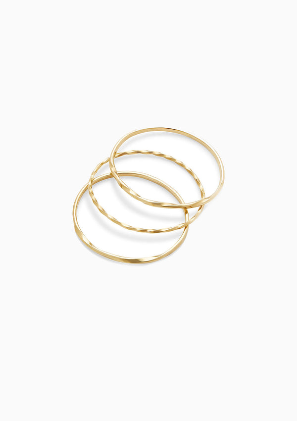Twist Stacked Bangles, Gold