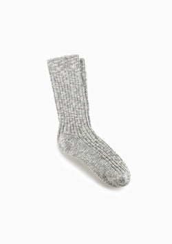 Cotton Slub Sock | Grey/White