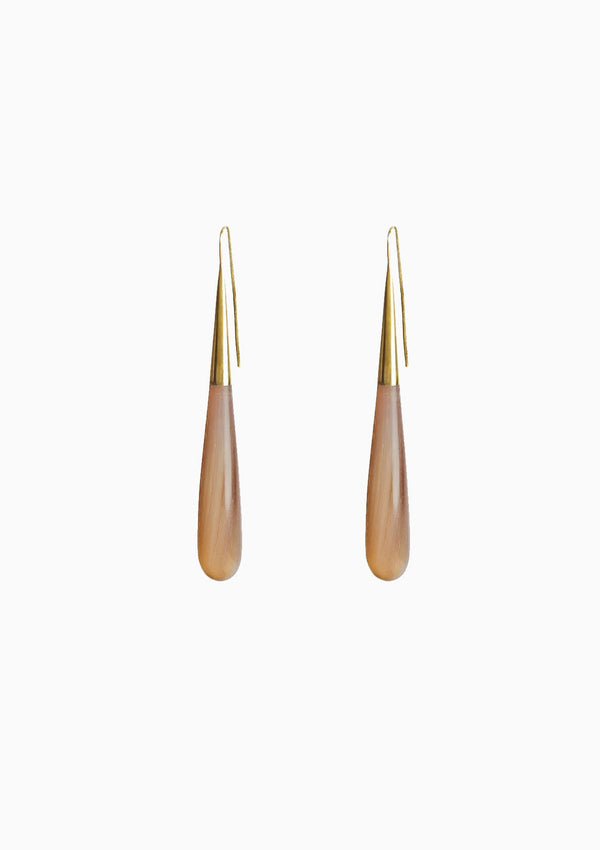 Horn Pia Threader Earrings | Gold/Natural