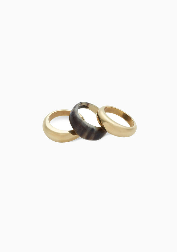 Mixed Material Fanned Ring Stack, Brass/Black