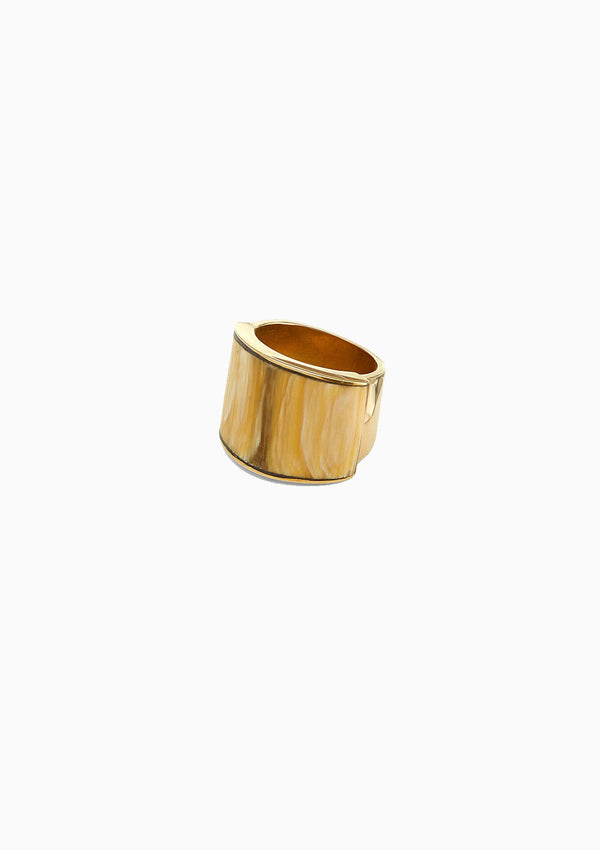 Sana Horn Band Ring, Natural/Brass