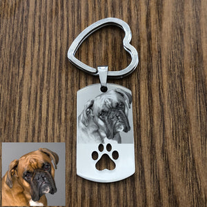 Custom Engraved Pet Photo Keychain