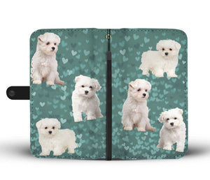 Maltese Dog On Hearts Print Wallet Case