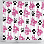 Amazing Great Dane With Paws Print Shower Curtain