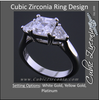 Cubic Zirconia Engagement Ring- The Welden (Cathedral-Set Asscher Cut 3 Stone with 2 Flanking Trillion Accents)