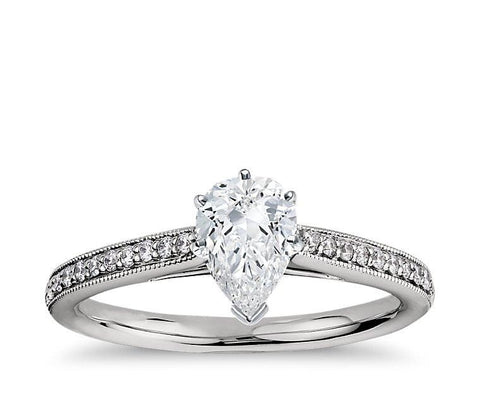 Cubic Zirconia Engagement Ring- The ________ Naming Rights 1193 (1.62 TCW Heirloom Petite Pear Cut Cathedral with Pavé Band)