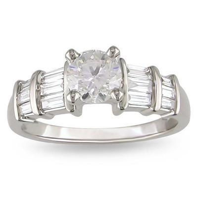 Cubic Zirconia Engagement Ring- The ________ Naming Rights 1623 (2.28 TCW Double Row Baguette and Oval Center)