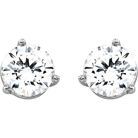 Cubic Zirconia Earrings- Customizable Round 3-prong Screw-back CZ Stud Earrings Set
