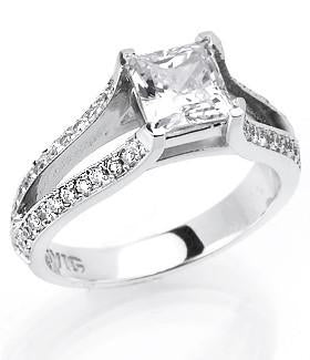 Cubic Zirconia Engagement Ring- The Joanne (2.40 TCW Princess Cut Split Shank)