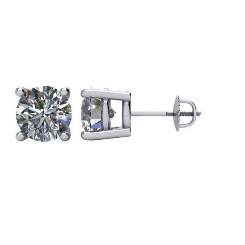 Cubic Zirconia Earrings-  (Ships Today) Customizable 4 Prong Round CZ Stud Earring Set With Screw Back