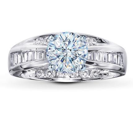 Cubic Zirconia Engagement Ring- The ________ Naming Rights 1238 (1.0-2.5 Carat Customiable Center Cathedral Bridge with Baguette and Round)