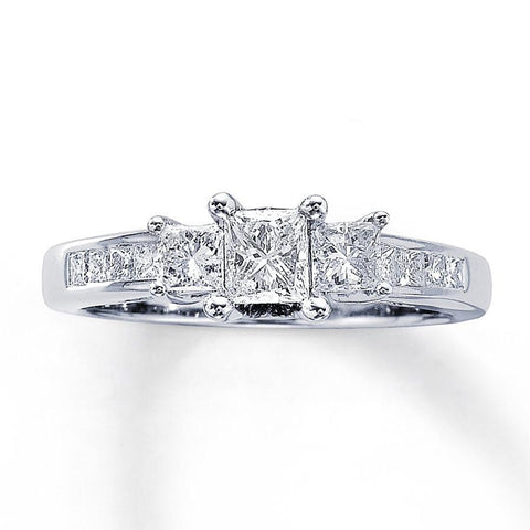Cubic Zirconia Engagement Ring- The Celeste (1 Carat TCW 3-Stone Princess Cut)