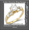 Cubic Zirconia Engagement Ring- The Amy (Round with Baguette Setting)