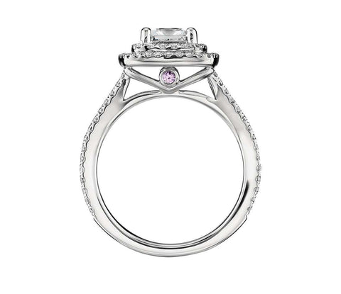 Cubic Zirconia Engagement Ring- The ________ Naming Rights 1403 (1.73 TCW Double Halo Split Shank with Pink Sapphire Peekaboo Accents)