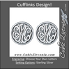 Men's Cufflinks- Customizable Monogram, Circle Style with Fancy Carved Relief Letters