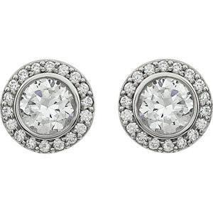 **Cubic Zirconia Earrings- Customizable Center Stone Halo-Style Earring Set