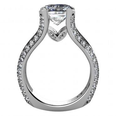 Cubic Zirconia Engagement Ring- The Rebekah (2 Carat Floating Center stone with Euro Style Split Band)