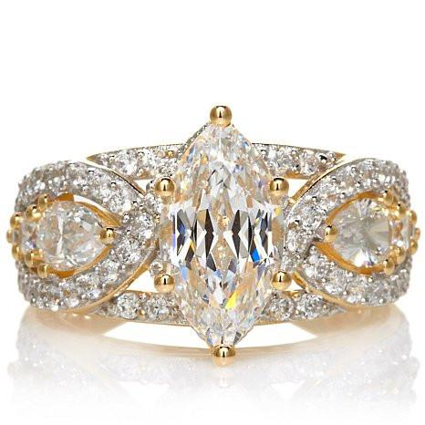 Cubic Zirconia Engagement Ring- The Donella Vintage Engagement Ring (6.30 TCW Marquise Cut)