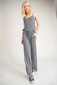 Charcoal Striped Jumpsuit