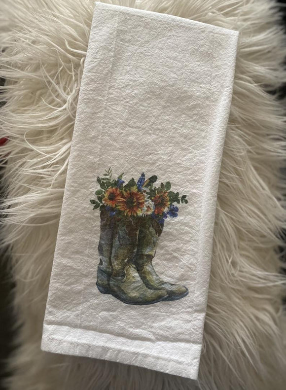 Boots with Flowers - Flour Sack Towel