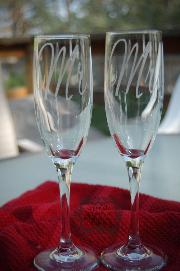 Mr & Mrs Etched Champagne Flute