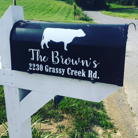 Mailbox Address with Cow - Mailbox Decal