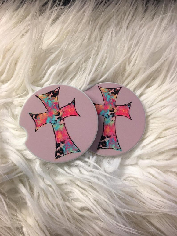 Car Coasters - Sandstone -Set of 2 - Cross -Watercolor Cross