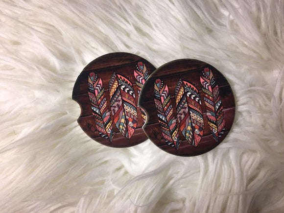 Feathers with Wood Background Car Coasters - Sandstone -Set of 2