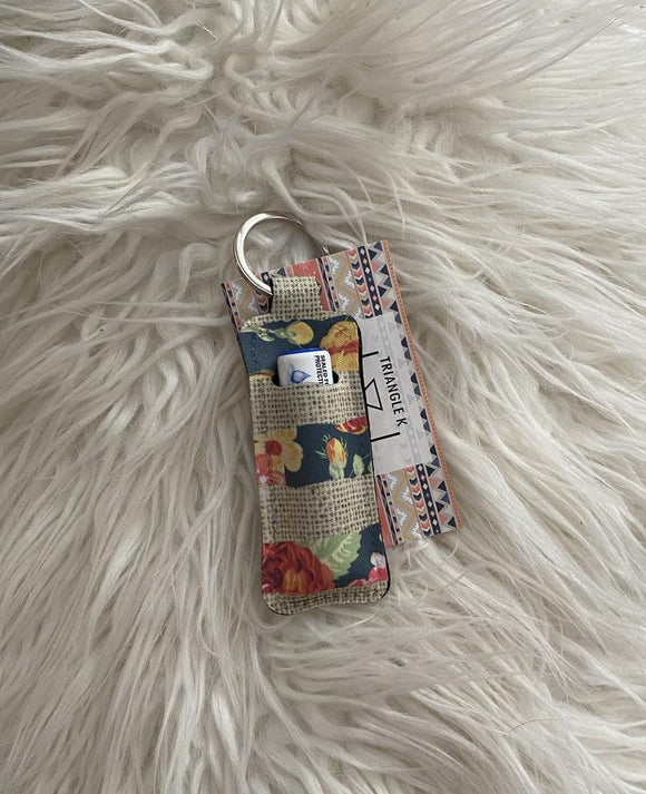 Floral and Burlap Chapstick Holder Keychain