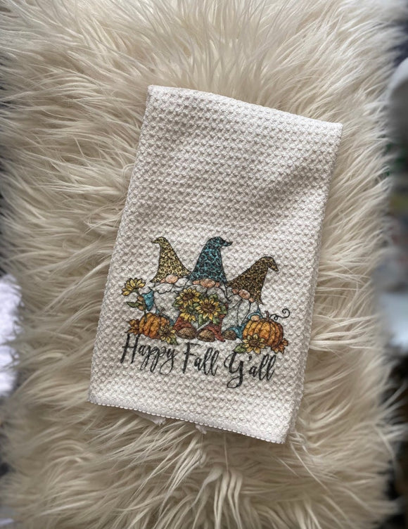 Happy Fall Y'all - Gnome - Kitchen Waffle Towel
