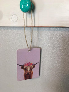 Highlander Cow with Flower Crown Air Freshener - Leather and Lace