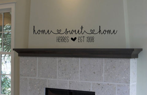 Home Sweet Home with Family Name - Vinyl Decal