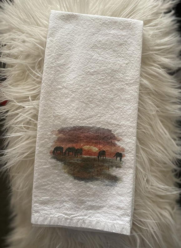 Horses with Sunset - Flour Sack Towel