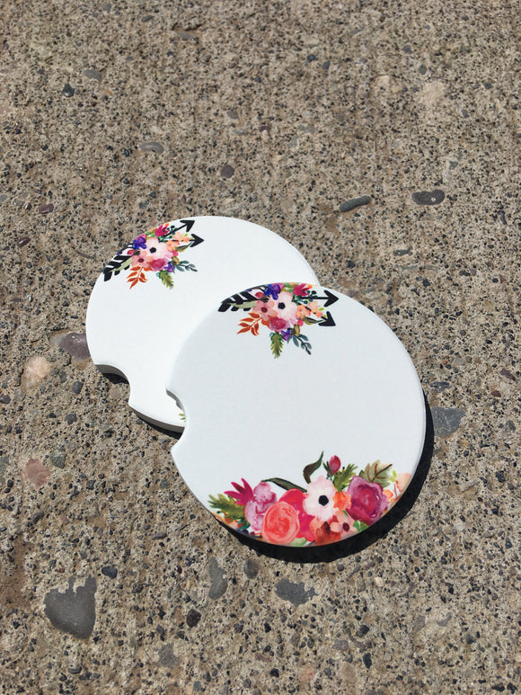 Car Coasters - Sandstone -Set of 2 -White Floral