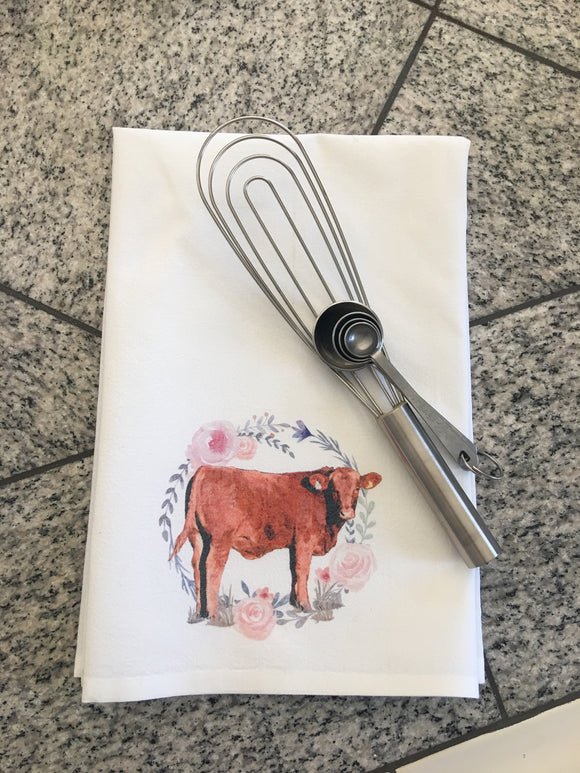 Cow with Floral Wreath Dish Towel