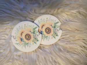 Car Coasters - Sandstone -Set of 2 - Sunflower
