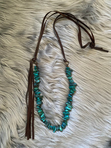 Turquoise Necklace with Side-Tie Tassel