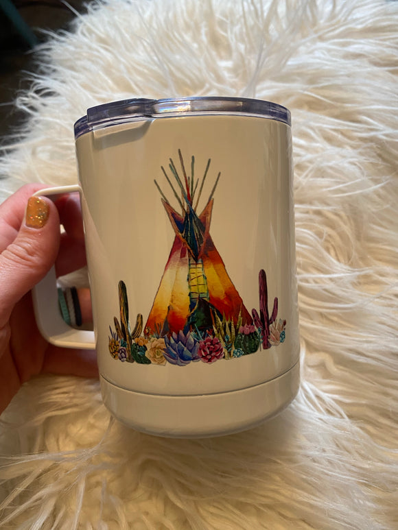 Watercolor Teepee Insulated Metal Mug