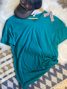 V-Neck Teal Bella Canvas Tee
