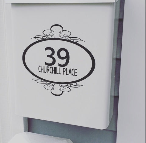 Mailbox Numbers with Fancy Frame Vinyl Decal