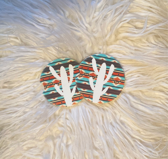 Coasters - Sandstone -Set of 2 - Aztec Cactus
