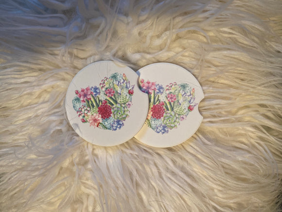 Car Coasters - Sandstone -Set of 2 - Succulent Heart