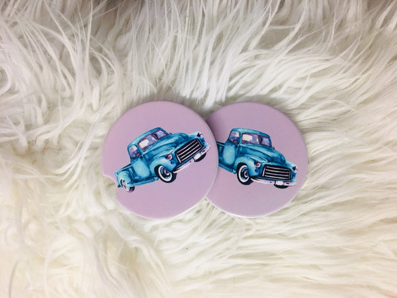 Sandstone Coasters -Set of 2 - Old Truck