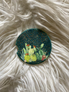 Cactus with Leopard Print - Sandstone Car Coasters-set of 2
