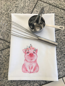 Pig with Floral Crown Dish Towel