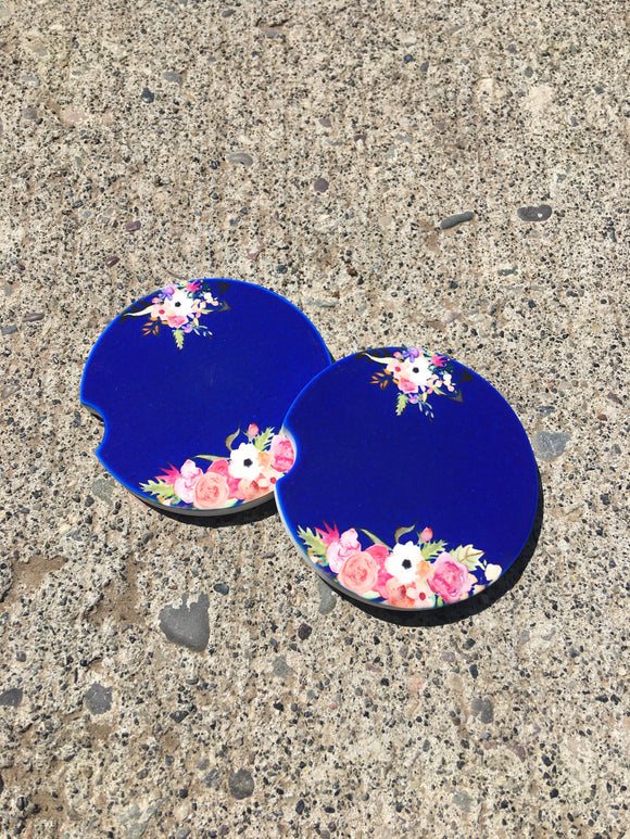 Car Coasters - Sandstone -Set of 2 - Blue Floral