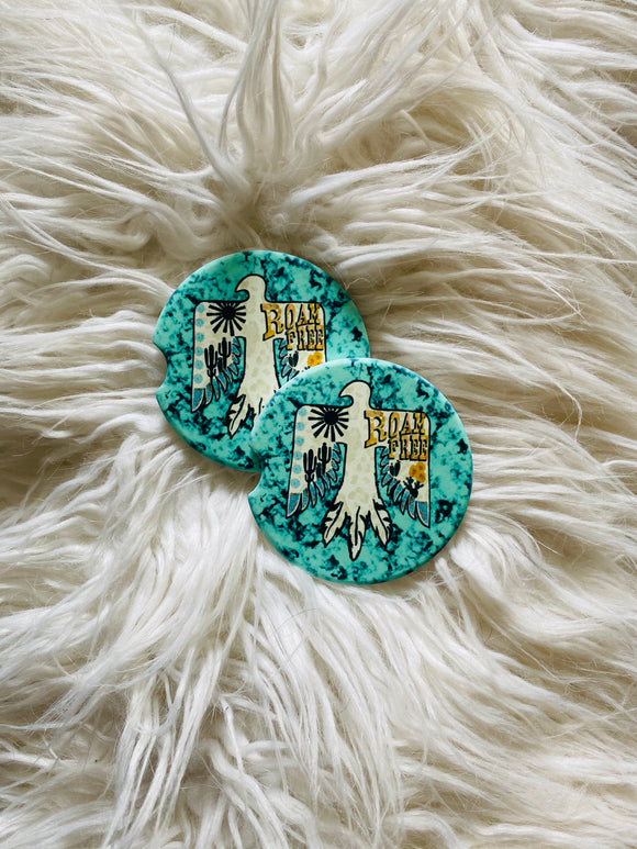 Thunder Bird with Turquoise Print - Sandstone Car Coasters-set of 2
